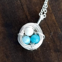 Nestling Necklace with Mixed Colored Eggs
