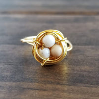 Nestling Ring with Fossilized Shell Stones
