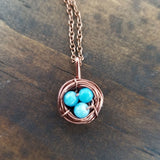 Nestling Necklace with Blue Larimar Quart Eggs