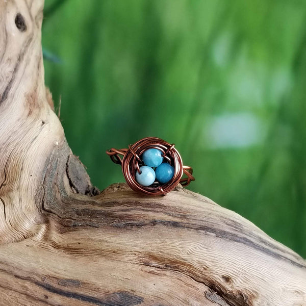 Nestling Ring with Blue Larimar Quartz Stones