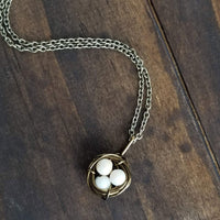 Nestling Necklace with Natural Colored Eggs