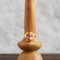 Nestling Ring with Pink Rhodonite Stones