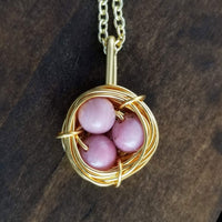 Nestling Necklace with Pink Rhodonite Eggs