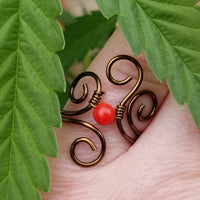 Flaming Spirals Ring with Red Coral Stone
