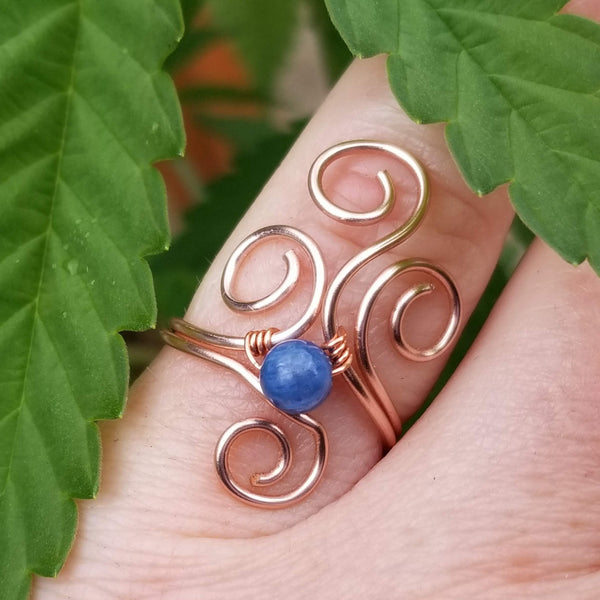 Flaming Spirals Ring with Blue Kyanite Stone