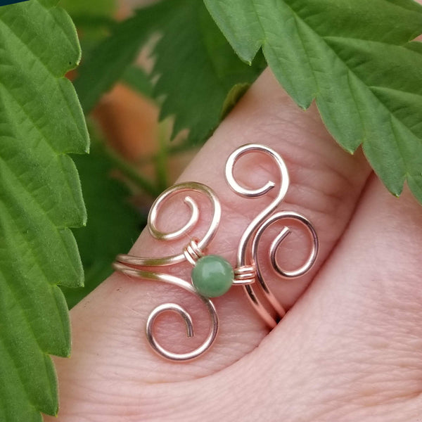 Flaming Spirals Ring with, Green Verdite Stone