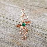 Cosmic Spiral Ring with Green Verdite Stone