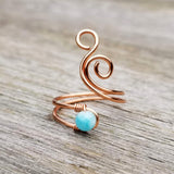 Whale Spout Spiral Ring with Blue Amazonite