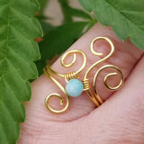 Flaming Spiral Ring with Blue Amazonite Stone