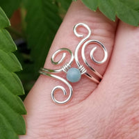 Flaming Spirals Ring with Green Amazonite Stone