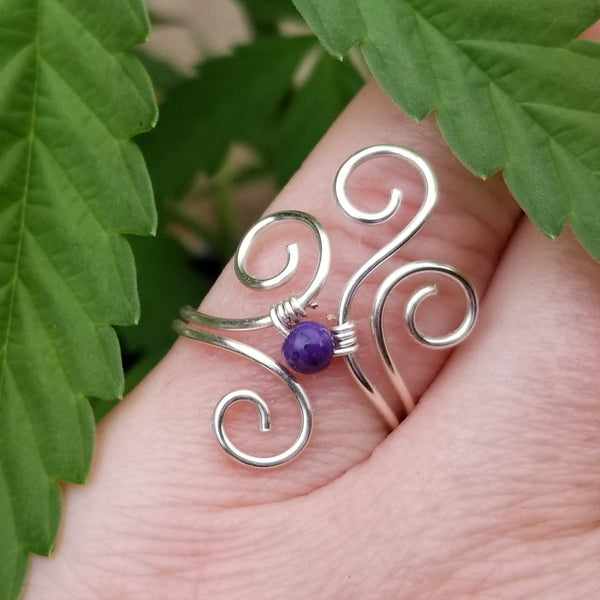 Flaming Spirals Ring with Purple Charoite Stone
