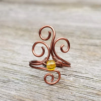 Flaming Spirals Ring with Yellow Citrine Stone