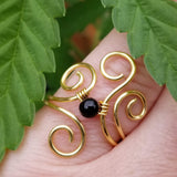 Flaming Spirals Ring with Blue Sand Jasper Stone