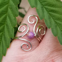 Flaming Spiral Ring with Purple Phosphosiderite Stone