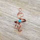 Cosmic Spiral Ring with Blue Amazonite Stone