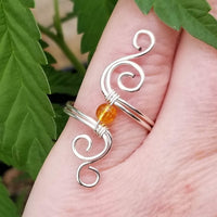 Cosmic Spiral Ring with Yellow Citrine Stone