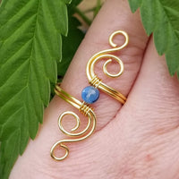 Cosmic Spiral Ring with Blue Kyanite Stone