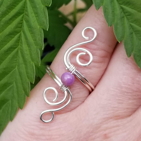 Cosmic Spiral Ring with Purple Phosphosiderite Stone