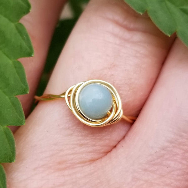 Twisted Cyclops Spiral Ring with Blue Amazonite Stone