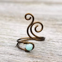 Whale Spout Spiral Ring with Green Amazonite Stone