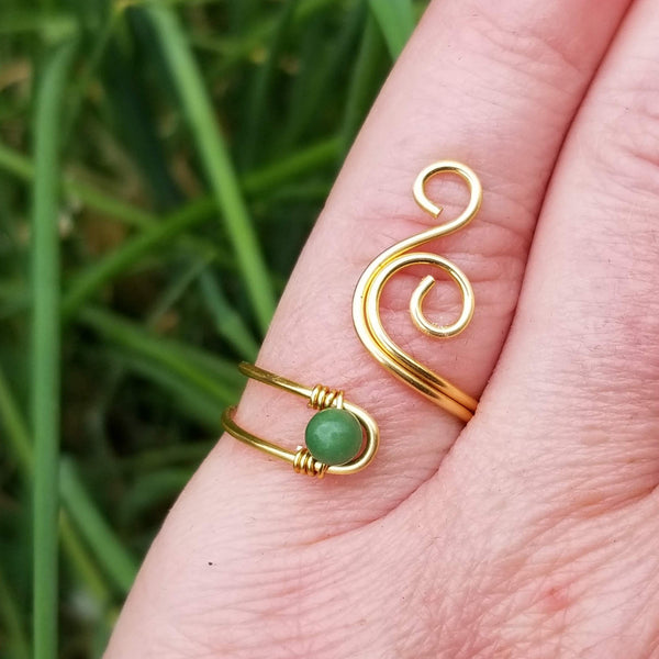 Whale Spout Spiral Ring with Green Verdite Stone