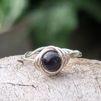 Twisted Cyclops Spiral Ring with Black Shungite Stone
