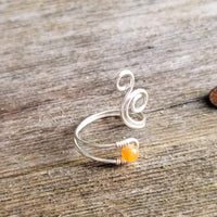 Whale Spout Spiral Ring with Orange Aventurine Stone