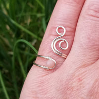 Whale Spout Spiral Ring with Pink Opal Stone