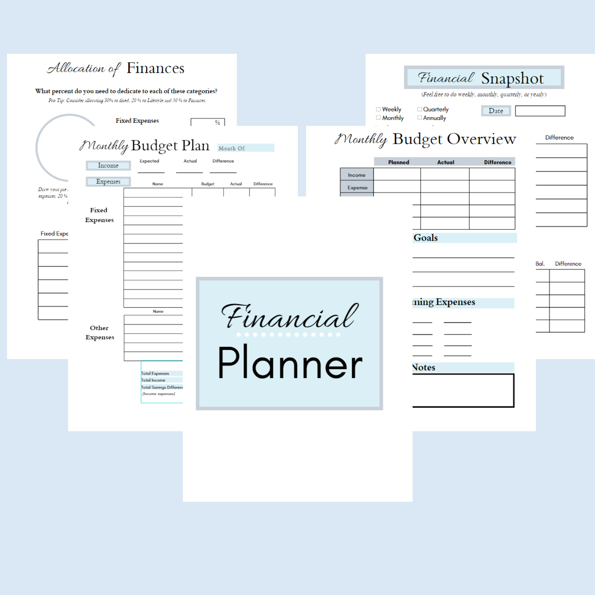 It's just a photo of Free Printable Financial Planner with monthly