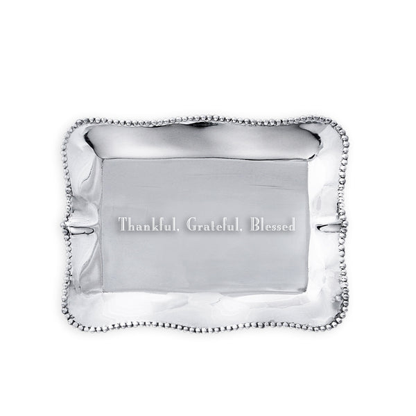 Beatriz Ball 7311 Giftables Vento Pearl Rectangle Engraved Tray (Thankful, Grateful, Blessed)