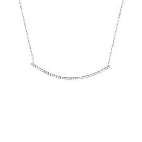 Maya J Silver Pendant Curved Bar - White