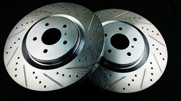 Phase 2 Motortrend (P2M) Zinc Coated Slotted Drilled Front Brake Rotors w/ Akebono - Nissan Z34 370z (2009+)