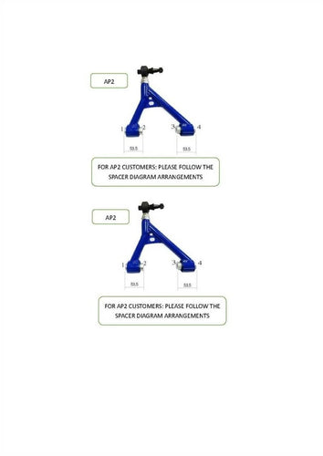 Phase 2 Motortrend (P2M) Adjustable Rear Upper Control Arms - Honda S2000 (2000-2009)