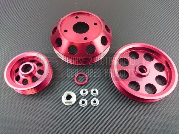 Phase 2 Motortrend (P2M) Aluminum 3 PC Lightweight Pulley Kit RED - Nissan 240sx S13 SR20DET (1989-1994)