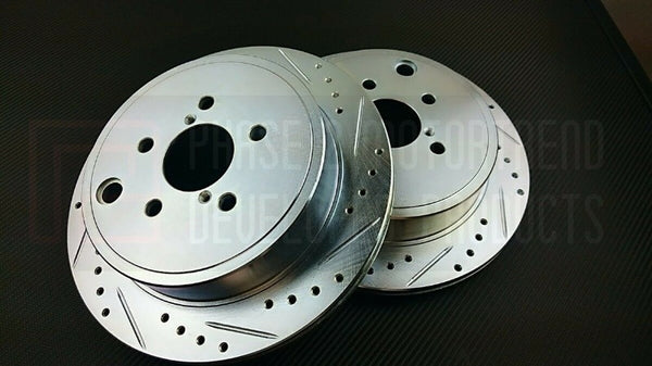 Phase 2 Motortrend (P2M) Zinc Coated Slotted Drilled Rear Brake Rotors - Scion FR-S (2012-2016)