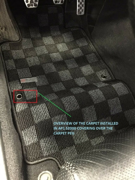 Phase 2 Motortrend (P2M) Checkered Flag Extended Carpet Floor Mats - Honda S2000 (2000-2009)