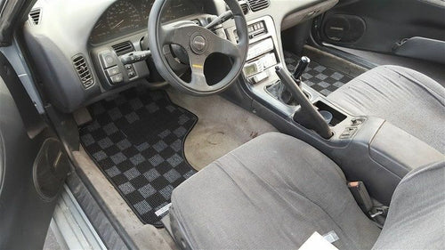 Phase 2 Motortrend (P2M) Checkered Race Carpet Floor Mats (Dark Grey) - Nissan 240sx S13 (1989-1994)