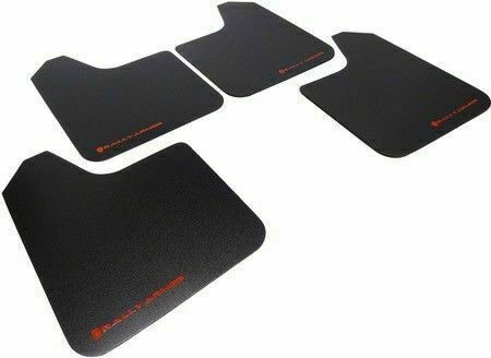 Rally Armor Basic UNIVERSAL Fitment Mud Flaps Set of 4 w/ Red Logo Lettering New