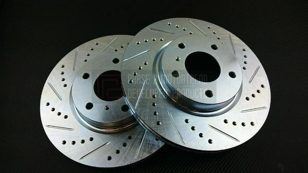 Phase 2 Motortrend (P2M) Zinc Coated Slotted Drilled Rear Brake Rotors - Nissan Z33 350z (2003-2005)