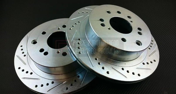 Phase 2 Motortrend (P2M) Z32 Zinc Coated Slotted Drilled Rear Conversion Rotors - Nissan 240sx (1989-1998)