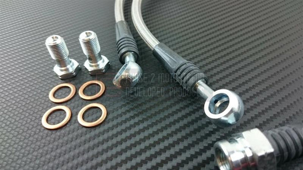 Phase 2 Motortrend (P2M) Stainless Steel Braided Front Brake Lines - Honda S2000 AP2 (2000-2005)