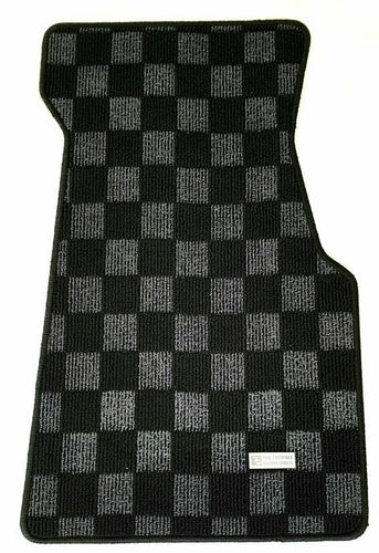 Phase 2 Motortrend (P2M) Checkered Flag Race Extended Carpet Floor Mats Set - Honda Civic Del Sol (1992-1994)