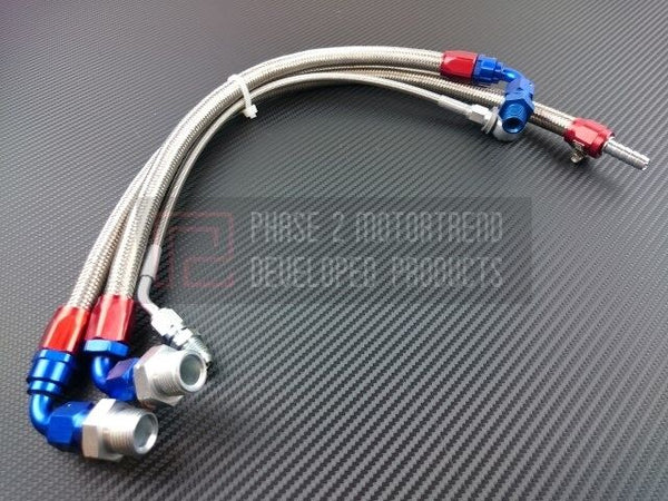 Phase 2 Motortrend (P2M) Stainless Steel Braided Turbo Lines Kit - Nissan RB25DET