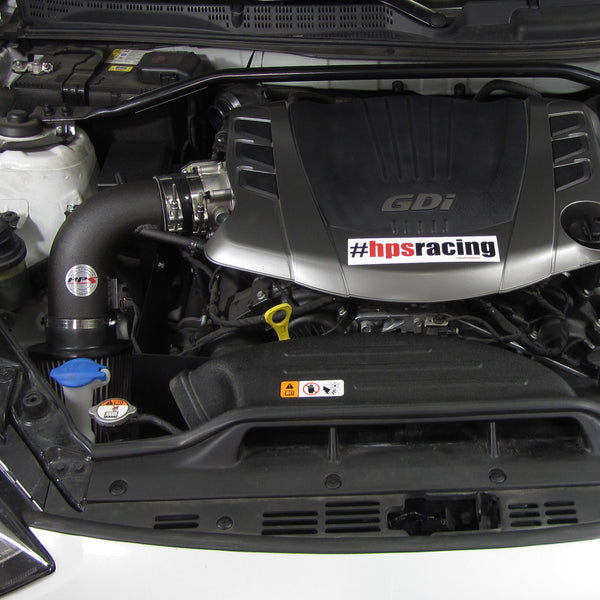 HPS Performance Shortram Cold Air Intake Kit Installed Hyundai 2013-2015 Genesis Coupe 3.8L V6 827-525