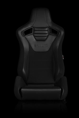 BRAUM Racing Elite S Reclining Bucket Seats Pair - Black Leatherette - Universal