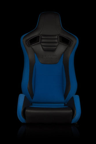 BRAUM Racing Elite S Reclining Bucket Seats Pair - Black & Blue Leatherette - Universal