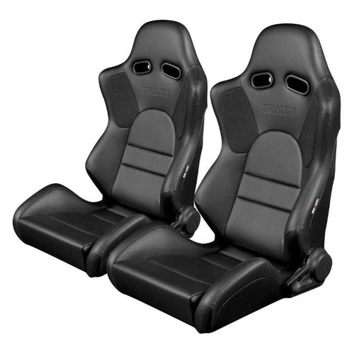 Braum Racing Advan Series Recline-able Racing Seat - Black Leather - PAIR