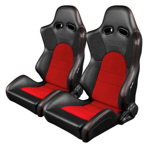Braum Racing Advan Series Recline-able Racing Seat - Black and Red - PAIR