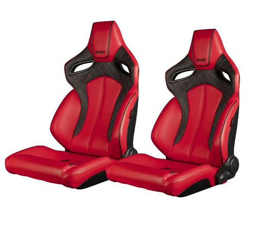 Braum Racing Orue Series Recline-able Racing Seat - Red Leather - PAIR
