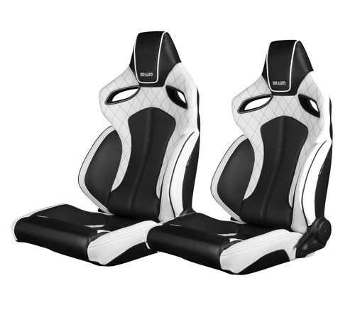 Braum Racing Orue Series Recline-able Racing Seat - White Leather - PAIR